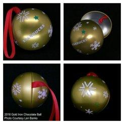 2016 Gold Iron Chocolate Ball Starbucks Ornament