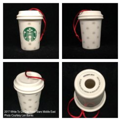 2017 White To Go Cup Silver Stars Middle East Starbucks Ornament