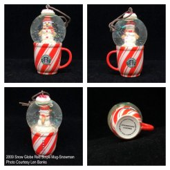 2009 Snow Globe Red Stripe Mug-Snowman Starbucks Ornament