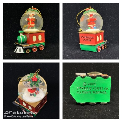 2005 Train-Santa Snow Globe Starbucks Ornament
