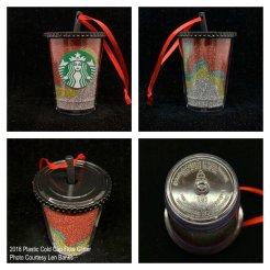 2018 Plastic Cold Cup Flow Glitter Starbucks Ornament