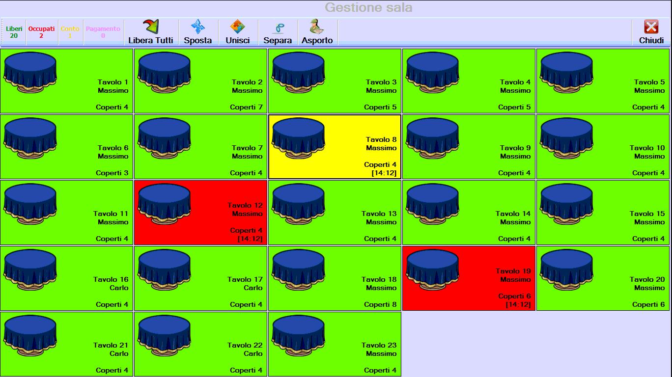Visibilità immediata status dei tavoli, con possibilità di modificare la disposizione dei coperti