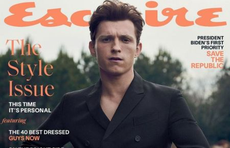 Tom Holland on the esquire magazine cover page
