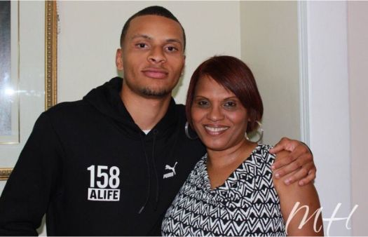 Andre De Grasse in his mother birthday