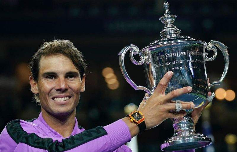 Rafael Nadal at United States Open Tennis Trophy