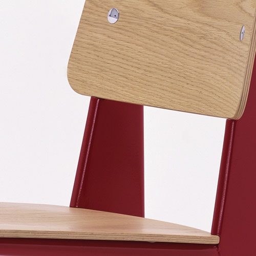 Prouv Standard Chair Red Frame W Natural Oak Vitra
