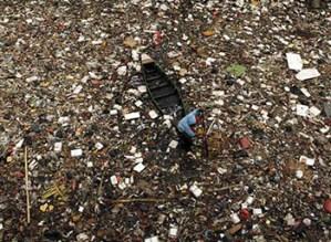boat in a plastic sea