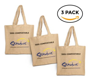 3-pack compostable reusable shopping bags jute