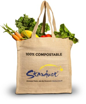 100% compostable stardust grocery shopping bag made from jute