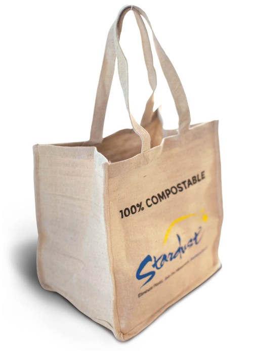 100% compostable stardust grocery bag - side angle