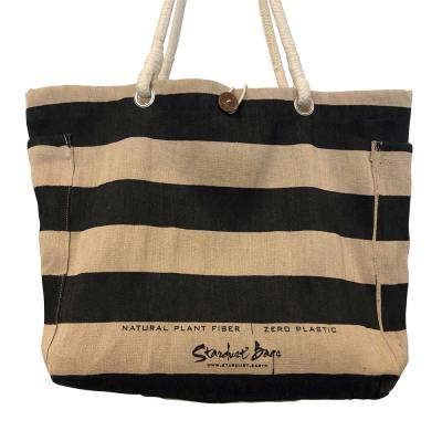 Black Stripes beach bag design - compostable jute