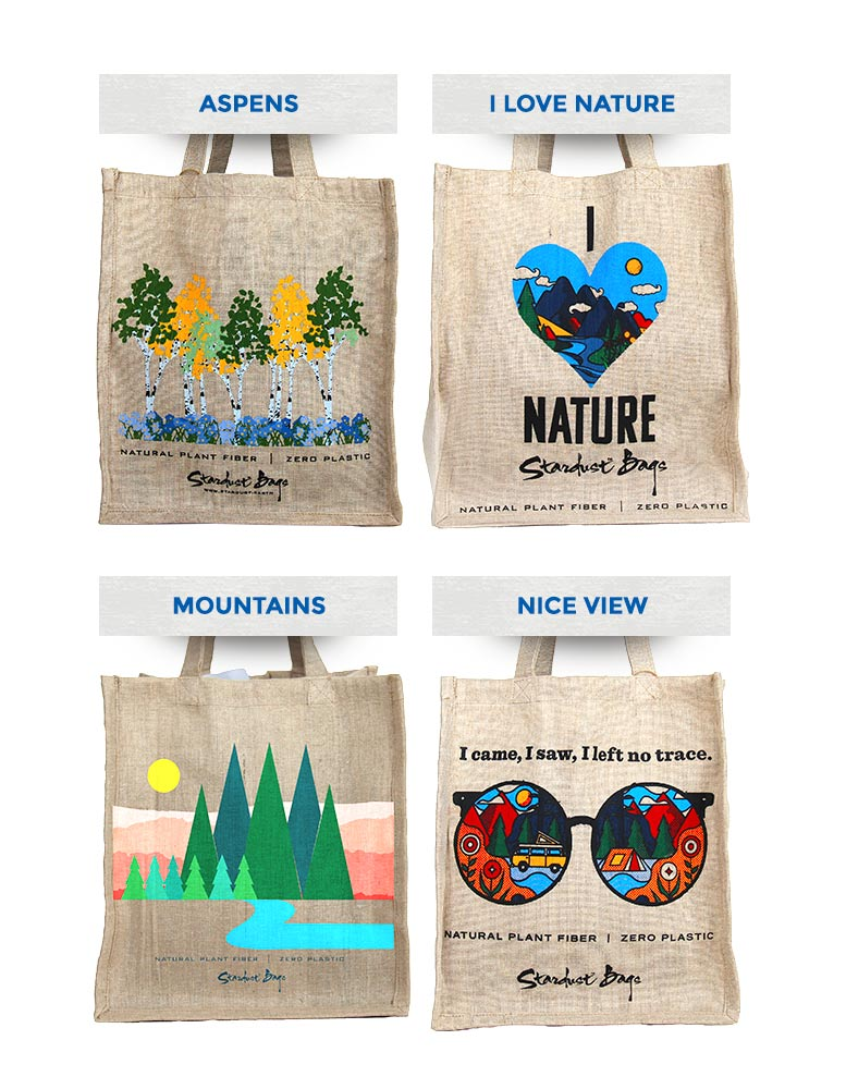Stardust grocery bag designs: Aspens, I Love Nature, Mountains, Nice View