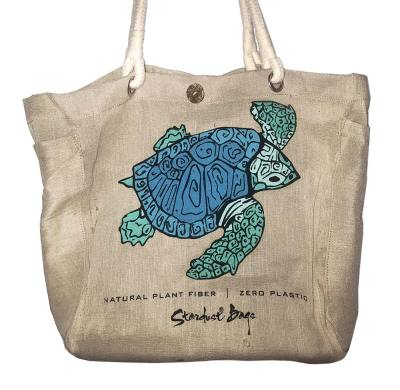 Sea Turtle beach bag design - compostable jute