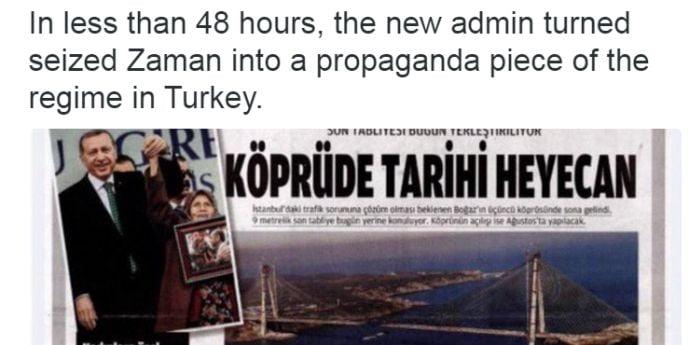 """Cenzura creşte în Turcia. La rând, cotidianul """"Zaman"""""""