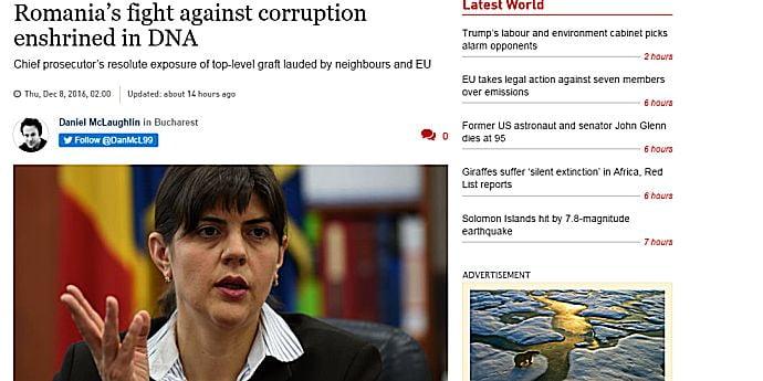 Irish Times o laudă pe Laura Codruţa Kovesi şi DNA