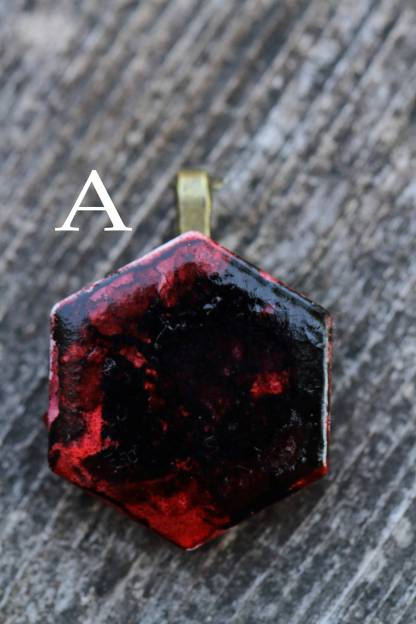 Alcohol ink abstract statement pendant OOAK art piece (black/red)