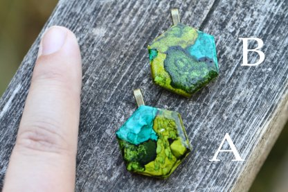 Alcohol ink abstract statement pendant OOAK art piece (green/sap/forest/trees)