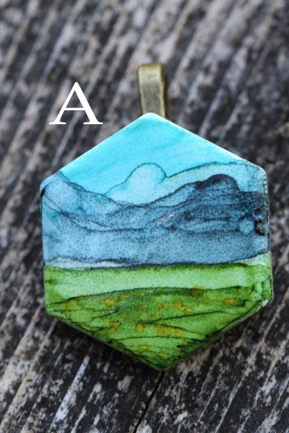 Alcohol ink mountain meadow statement pendant OOAK art piece