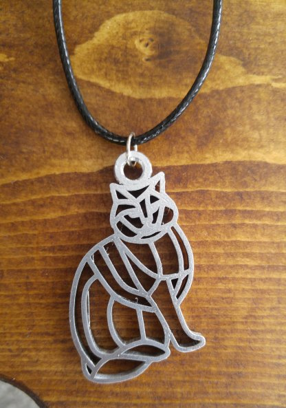 Chubby cat statement pendant/necklace in silver (D)