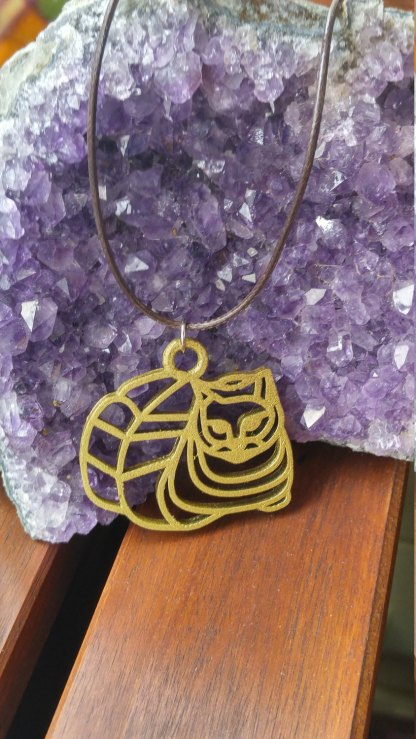 Chubby cat statement pendant/necklace in silver or gold (C)