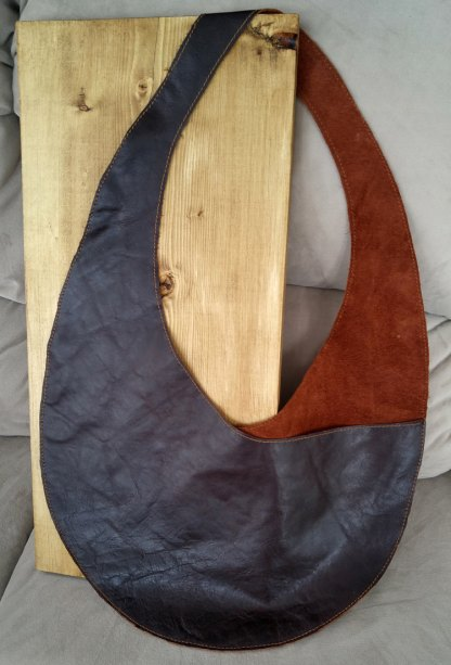 Reclaimed mahogany leather shoulder bag/purse