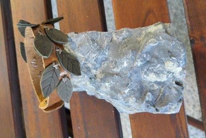 Rustic leaf branch genuine leather bracelet