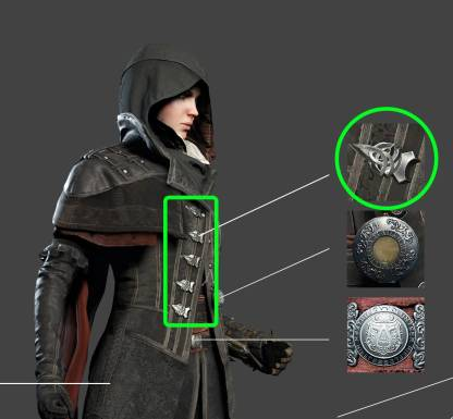 Evie Frye costume buttons (Assassin's Creed: Syndicate)