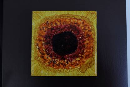 """Original 3x3"""" tile alcohol ink painting (""""Yellow Seed""""), ready to hang art"""
