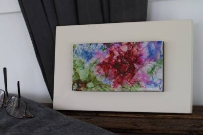 """Original 3x6 tile alcohol ink painting (""""Fuchsia""""), ready to hang art"""