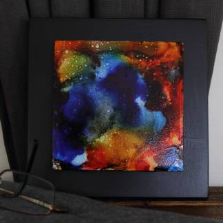 "Original 4x4"" tile alcohol ink painting (""Carefree""), ready to hang art"