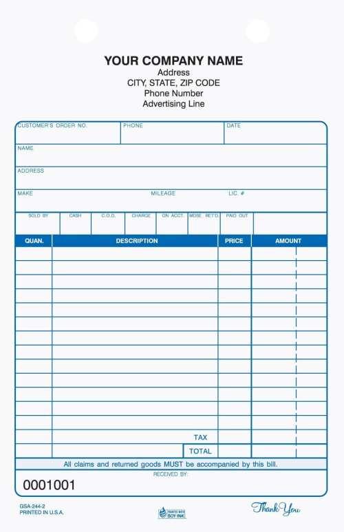 GSA-244-3, 3 part auto service register tickets