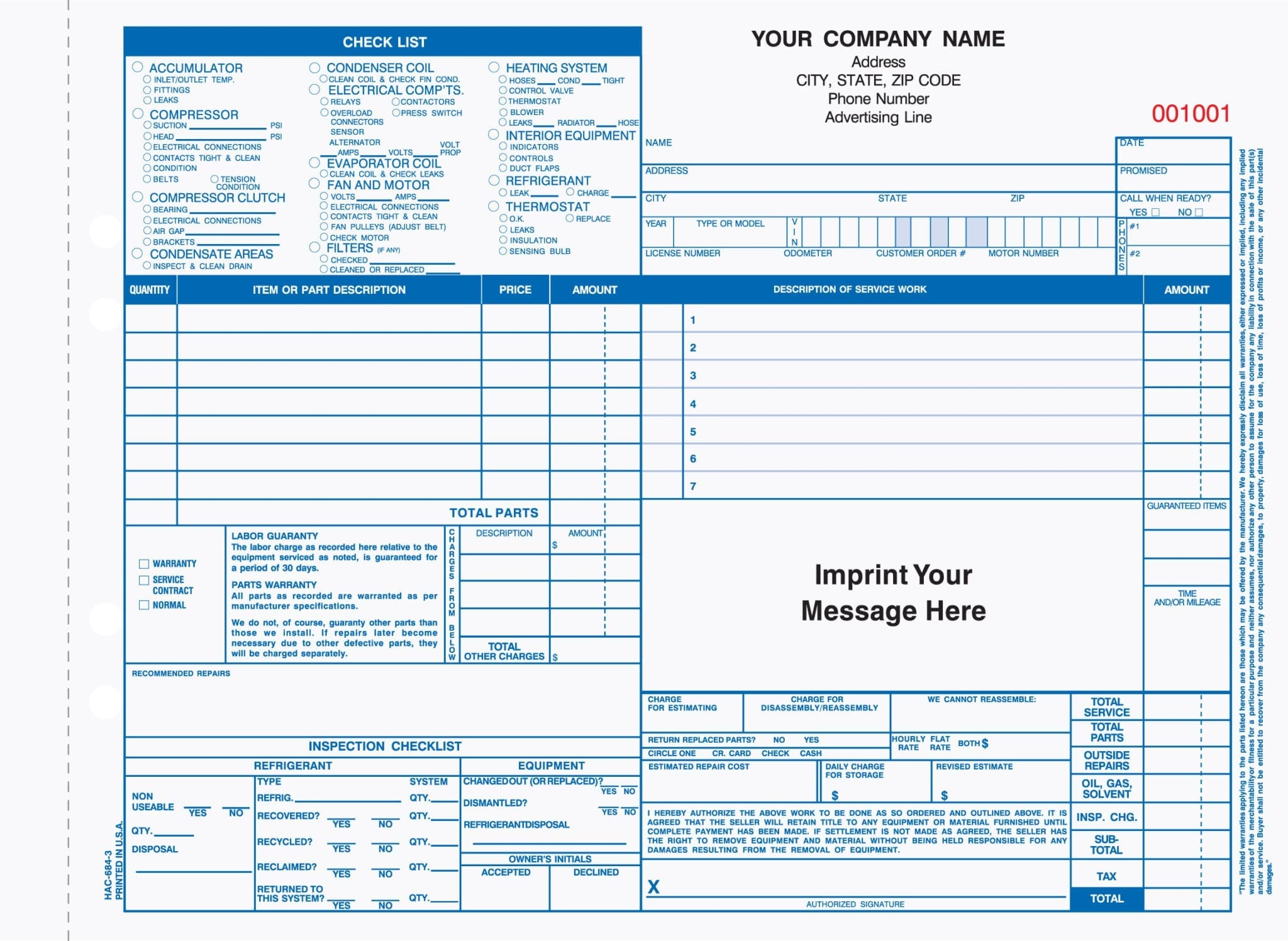 Part Auto Heating Air Cond Work Order Invoice Forms FREE SHIPPING - Work order invoice template free