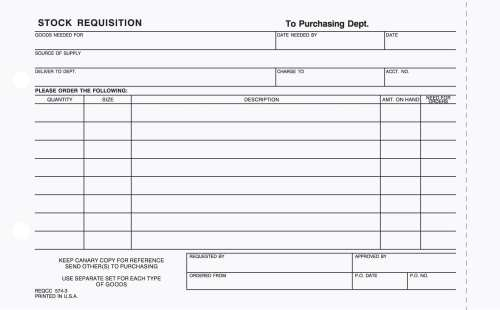 Stock Requisition Forms Tag