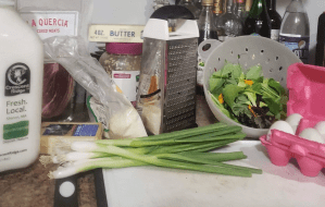 Ingredients set out for quiche