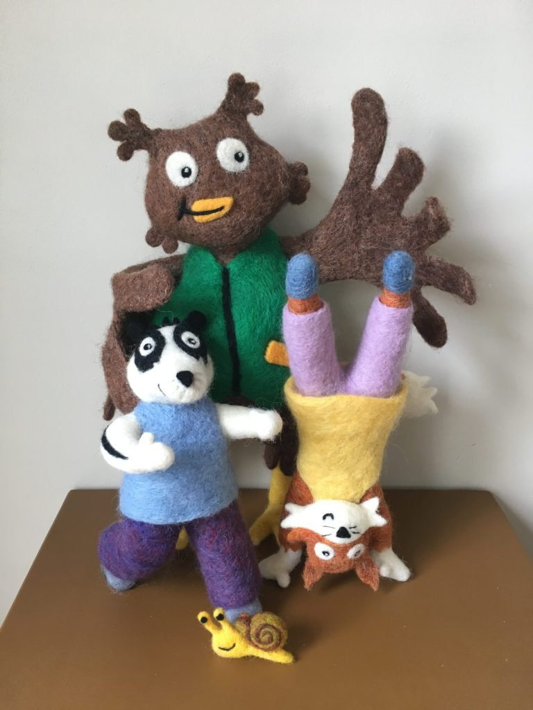 needle felted characters from a childrens book