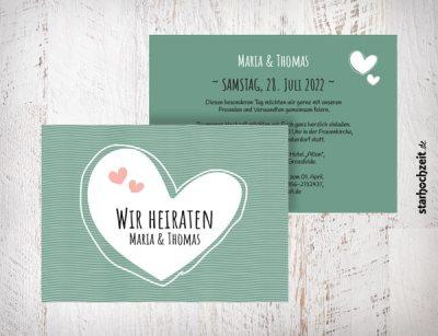 Hochzeitseinladungen grün - Maria mit Herzen auch in blush, beige, violett Die Hochzeitseinladungen Maria mit Herzen gibt es in 4 Farben. Gestalte deine Einladungskarten in drei einfachen Schritten in unserem Designertool fertig.   starhochzeit.de