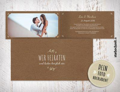 Einladungskarte Hochzeit, Hochzeitseinladung Klappkarte, Hochzeitseinladungskarten, Vintage, Wir heiraten, Einladungskarten