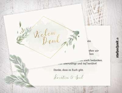 Dankeskarte, Danksagungskarte, Danksagung, Dankeskarten Hochzeit, Floral, elegant, Wir sagen Danke, Dankeschön, Vielen Dank, 2Seiten, A6, querformat