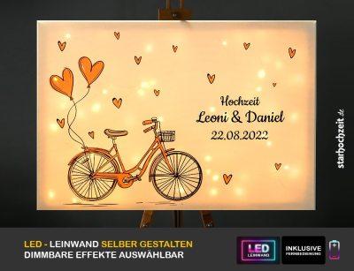 Hochzeit LED-Gästebuch- selber gestalten - rosa Fahrrad mit Herzen