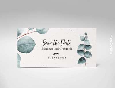 Save the Date Karte, SavetheDate, Hochzeitsdatum, Hochzeitseinladung, Eukalyptus, Natur, Naturpapier