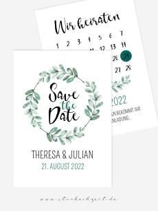 wunderschöne, aussergewöhnliche, Save the Date Karten, Soft Greenery, Hochzeit, Eukalyptus, Kalender Hochzeit, Aquarell