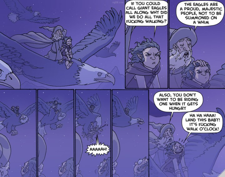 I couldn't resist one last Oglaf strip - the real reason you don't use eagles...