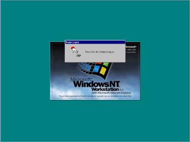 Logon screen for Windows NT Workstation 4.0