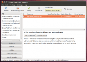 """Ubuntu package manager - showing """"netbook-launcher-efl"""" package"""