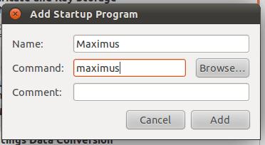ubuntu startup program - add maximus