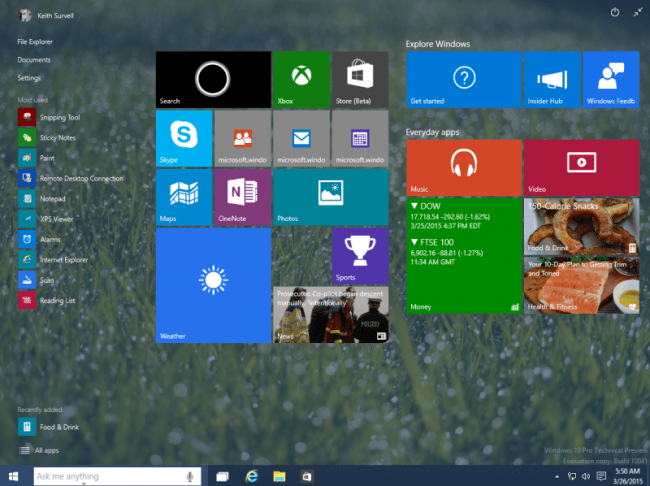 windows 10 - start menu (expanded)