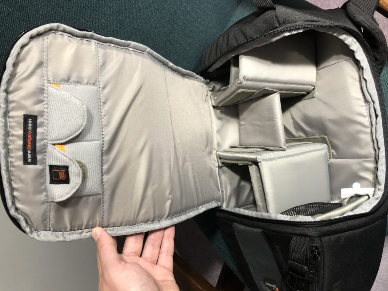 Lowepro sling bag fully open