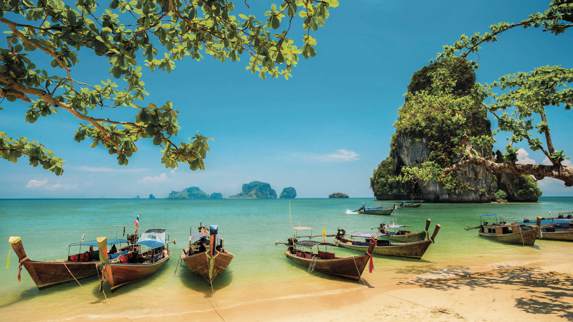 Boats packed on a beach in Thailand