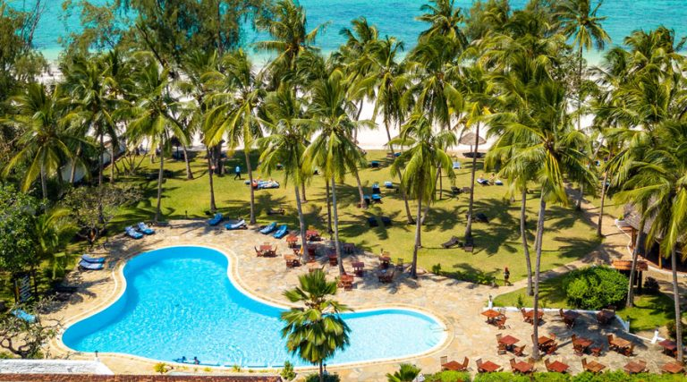 Aerial view of the swimming pool at Diani Sea Lodge