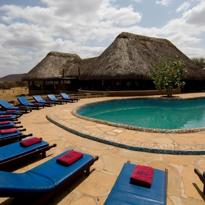 Swimming pool area at Samburu Sopa Lodge